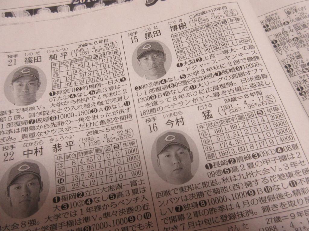 プロ野球選手名鑑の黒田投手