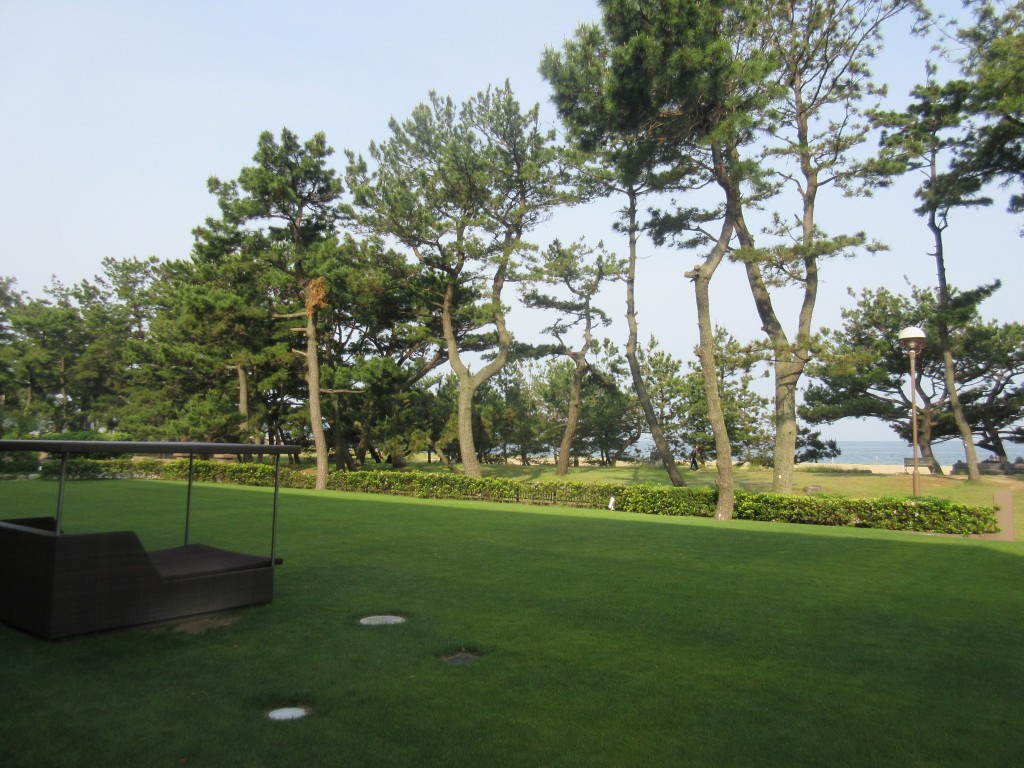 あわじ浜離宮の庭と海